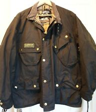 MENS BARBOUR INTERNATIONAL BLACK WAX JACKET SIZE 46