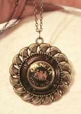 Lovely Swirled Leaf Rim Italian Wine Crest Cork Black & Gold Brasstone Necklace