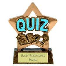 Mini Star Quiz Trophy Award (8cm) free engraving & p&p