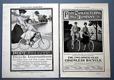 """TWO ORIGINAL 1904 POPE TWO SPEED BICYCLE ADVERTISEMENTS ~ 9.5"""" BY 6.5"""" ~ 04POPE"""