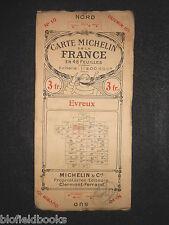 Vintage 1924 francés Michelin mapa de carreteras de Evreux (Feuille 10/Carta de la France)