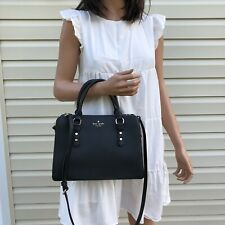NEW KATE SPADE Leather Small Satchel Crossbody Bag Purse Black
