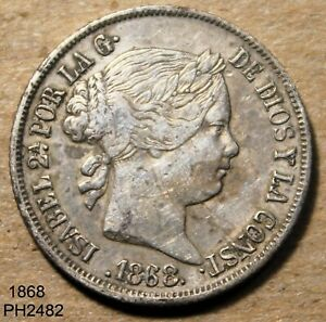 PHILIPPINES SPAIN 20 Centimos 1868 90% SILVER Circulated FREE SHIPPING IN U.S.