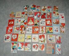 47 Mid Century Vintage Valentine Cards 1950's-60's FUN LOT USA Die Cut FUN LOT!