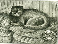 Cat, Limited Edition Ex libris Bookplate Etching by Vadim Shramkov