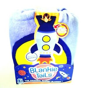 Blankie Tails Rocket Snuggle Bag Fleece Blanket Kid-Size Blue Yellow Orange NEW