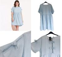Simply Be Denim Swing Dress UK 22 Curve Fit Blue Ribbon Details  Summer  Dress