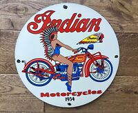 "Vintage Indian Motorcycles Heavy Porcelain Sign 12"" Gas & Oil Motorcycle Sign"
