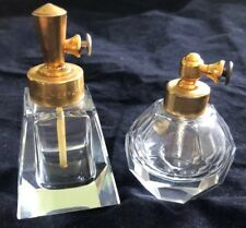 Holmspray Lot Of 2 Short Clear Glass Perfume Atomizers