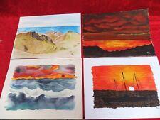 4 schöne , gemalte Bilder__Aquarelle ___signiert__Landschaften ...__!