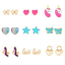 9 Pairs Women Girls Charming Resin Unicorn Heart Star Butterfly Stud Earrings