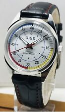 Vintage ORIS Swiss Hand Wind 17 MEN Watch White Red Black Blue Yellow Sport Dial