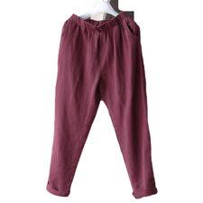 Women Casual Harem Pants Cotton Linen Elastic Waist Pocket Baggy Slacks Trousers