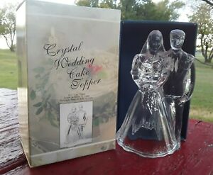 Cristal d Arques Crystal Wedding Cake Topper - Table Decor ~ Bride and Groom