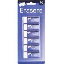Pencil Eraser Pack of 6 Just Stationery Eraser White   6360/48