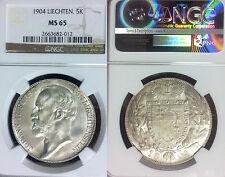 Liechtenstein 1904 5 KR, Rare Superb NGC 65, Key Date, Low Mintage 10,000 pcs
