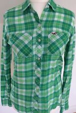 HOLLISTER XS 8 vgc green white check long sleeve long length fitted shirt blouse