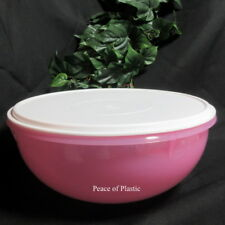 Tupperware NEW Fix N Mix Bowl 26 Cup Sheer Pastel Pink Mixing Serving White Seal