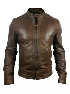 Mens Leather Jacket Brown Original Lambs Skin by Designer Alexander Caine