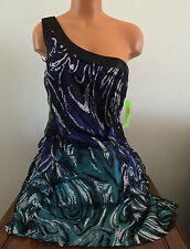 NV Couture Womens Sz 12 Purple Turquoise Glitter One Shoulder Party Prom Dress