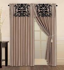 Luxury Flocking Taupe Black New Window Curtain Panels Liner Tassel