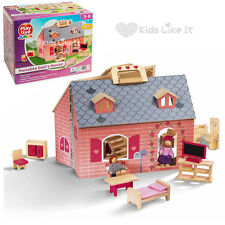 Girls PINK Portable Wooden DOLLHOUSE Pretend PLAY HOUSE SET w/ Dolls Furniture