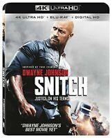 Snitch (4K Ultra HD Blu-ray, 2017, 2-Disc Set) Dwayne The Rock Johnson Free Ship