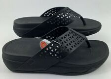 FITFLOP Women's Leather Lattice Surfa Thong Sandals All Black Size 5