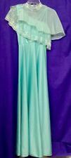 1970's Mint Green Empire Waist Long Dress W/ Chiffon Cape, Size Small
