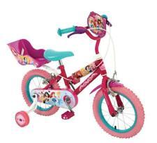 "Disney Princess Kids Girls 14"" First Bike Bicycle Stabilisers Doll Carrier Pink"