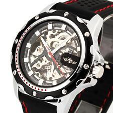 Automatik Herrenuhr Silikon Armbanduhr Automatikuhr Skelettuhr Schwarz Rot NEU