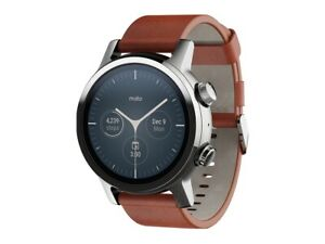Moto 360 Smartwatch with Wear OS (Gen 3, Steel Gray) Brown All Day Battery
