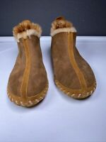 LL BEAN Women's Brown Suede Shearling Lined Wicked Good Bootie Slippers Size 8 M
