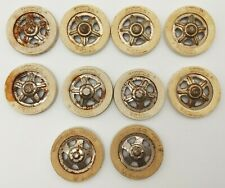 10 Vintage Tonka White Wall Tire Inserts with Chrome Wheel Hubcaps