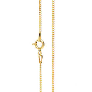 Mens Gold Chain Necklace 1.2 mm thick Diamond Cut Curb Style