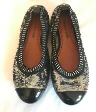 """NEW """"Moda in Pelle"""" Black Patent/Silver Sequin Flat Shoes, Size 6.5 (40), Studs"""