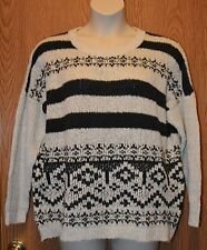 Womens Ivory & Gray Stripe NorthCrest Sweater Size XL NWT NEW