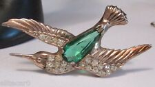 Vintage Sterling Silver Bird Brooch Large Glass Rhinestone Belly 1940's Figural
