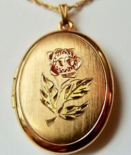 """VINTAGE GOLD FILL ENGRAVED TINTED PINK AND GREEN ROSE LOCKET AND 22"""" GF CHAIN"""