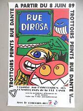 Hervé DI ROSA Affiche originale 89 Figuration libre Sète Paris Rue Dante Monstre