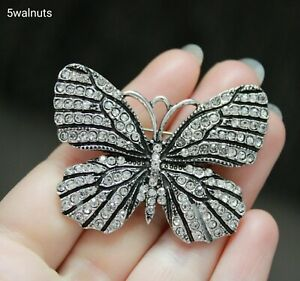 Silver Butterfly Brooch Vintage Antique Style Diamante Crystal Broach Pin Gift
