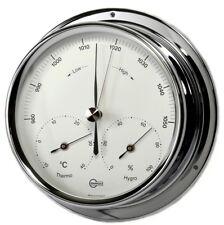 Weather Station Analog BARIGO Barometer Thermometer Hygrometer chrome 120mm