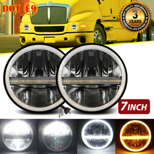 """DOT Pair 7"""" Inch LED Headlight Hi/Lo Beam Halo Projector DRL For Kenworth T2000"""