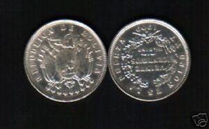 BOLIVIA 20 CENTAVOS KM176 1909 *SILVER* MONOGRAM SCARCE LATINO CURRENCY COIN