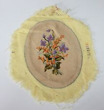 Vtg Crewel Embroidery Needlepoint Picture Completed Flowers Royal Paris Lily Art