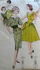 Vtg 60s Full Cocktail Party & Chic Wiggle Dress & Jacket Butterick 9314 Bust 32