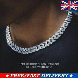 Men Necklace Ice Out Bling Diamond Link Chain Bracelet 18'' Silver Fashion