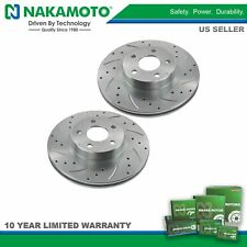 Nakamoto Performance Drilled & Slotted Front Coated Brake Rotor Pair for Subaru