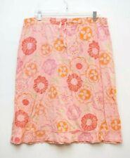 Fresh Produce Womens XL Skirt Cotton Floral Drawstring Waist Raw Hem USA Made