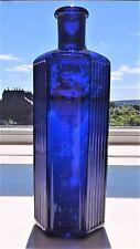 Victorian Cobalt Blue Hexagonal Glass Poison Chemist Bottle 17 cm high
